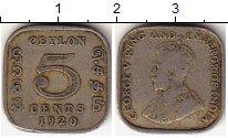 Изображение Монеты Цейлон 5 центов 1920 Медно-никель VF