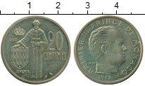 Изображение Монеты Монако 20 сентим 1962 Медно-никель XF Ренье III