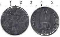 Изображение Монеты Европа Ватикан 100 лир 1966 Медно-никель UNC-