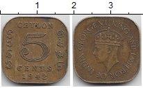 Изображение Монеты Цейлон 5 центов 1942 Латунь VF