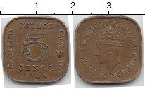Изображение Монеты Шри-Ланка Цейлон 5 центов 1944 Латунь VF
