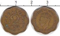 Изображение Монеты Цейлон 2 цента 1944 Латунь VF