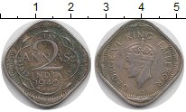 Изображение Монеты Азия Индия 2 анны 1940 Медно-никель VF