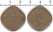 Изображение Монеты Британская Индия 2 анны 1943 Латунь VF