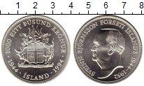 Изображение Монеты Исландия 1000 крон 1994 Серебро UNC Свейдн Бьёрнссон