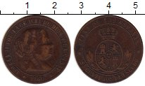 Изображение Монеты Европа Испания 2 1/2 сентимо 1866 Медь XF