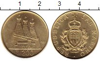 Изображение Монеты Сан-Марино 200 лир 1987 Латунь UNC