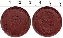 Изображение Монеты Германия : Нотгельды 1 марка 1921 Фарфор UNC Эйзенах. Мартин Люте