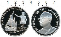 Изображение Монеты Гамбия 20 даласи 1993 Серебро Proof- Корабль, экспедиция