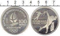Изображение Монеты Франция 100 франков 1990 Серебро Proof- Олимпиада. Альбертви