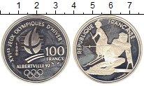 Изображение Монеты Франция 100 франков 1990 Серебро Proof- Олимпиада.Лыжник
