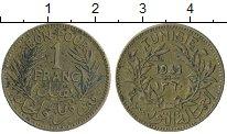 Изображение Монеты Африка Тунис 1 франк 1941 Латунь XF