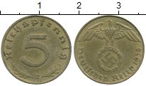 Изображение Монеты Германия Третий Рейх 5 пфеннигов 1938 Латунь XF