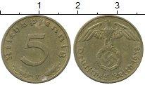 Изображение Монеты Третий Рейх 5 пфеннигов 1938 Латунь XF герб F