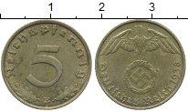 Изображение Монеты Третий Рейх 5 пфеннигов 1938 Латунь XF герб E