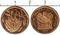 Изображение Монеты Африка ЮАР 20 центов 1993 Латунь Proof-