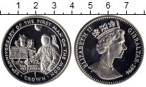 Изображение Монеты Гибралтар 1 крона 1994 Серебро Proof 25 лет высадки на Лу