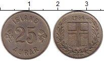 Изображение Монеты Исландия 25 аурар 1954 Медно-никель XF