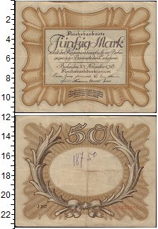 Изображение Банкноты Германия 50 марок 1918  VF