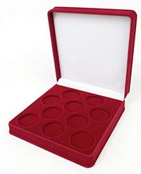 Изображение Аксессуары для монет Бархат Подарочный футляр на 10 монет в капсулах (Ø ячеек 46мм) 0