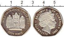 Изображение Монеты Гернси 50 пенсов 2003 Серебро Proof- 50 лет коронации Ели