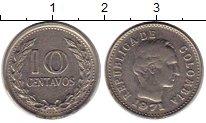 Изображение Монеты Колумбия 10 сентаво 1971 Медно-никель XF