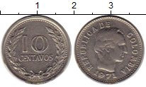 Изображение Монеты Колумбия 10 сентаво 1971 Медно-никель XF Симон Боливар