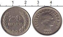 Изображение Монеты Колумбия 20 сентаво 1971 Медно-никель XF