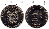 Изображение Мелочь Панама 5 сентесим 1980 Медно-никель UNC-