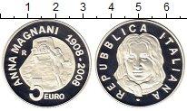 Изображение Монеты Италия 5 евро 2008 Серебро Proof Анна  Маньяни