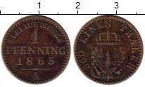Изображение Монеты Германия Пруссия 1 пфенниг 1865 Медь XF