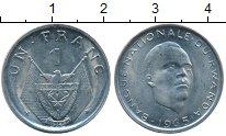 Изображение Монеты Африка Руанда 1 франк 1965 Медно-никель UNC-