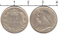Изображение Монеты Европа Великобритания 6 пенсов 1898 Серебро UNC-