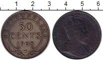Изображение Монеты Ньюфаундленд 50 центов 1908 Серебро VF Эдуард VII