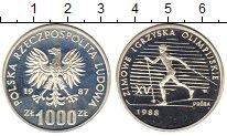 Изображение Монеты Польша 1000 злотых 1987 Серебро Proof Олимпиада 88.  Лыжны