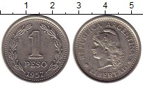 Изображение Монеты Аргентина 1 песо 1957 Медно-никель UNC-