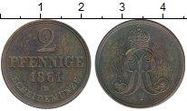 Изображение Монеты Германия Ганновер 2 пфеннига 1861 Медь XF