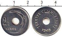 Изображение Монеты Азия Турция 2 1/2 куруш 1948 Серебро UNC-