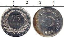 Изображение Монеты Турция 25 куруш 1948 Серебро UNC-