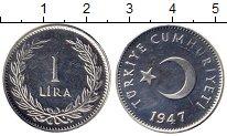 Изображение Монеты Азия Турция 1 лира 1947 Серебро UNC-