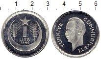 Изображение Монеты Турция 1 лира 1940 Серебро Proof-
