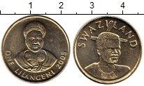 Изображение Монеты Африка Свазиленд 1 лилангени 2005 Латунь UNC-