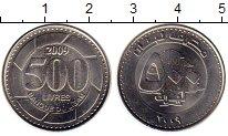 Изображение Монеты Азия Ливан 500 ливр 2009 Медно-никель UNC