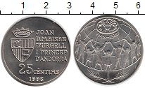 Изображение Монеты Андорра 25 сентим 1995 Медно-никель XF