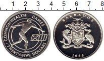 Изображение Монеты Барбадос 25 долларов 1986 Серебро Proof