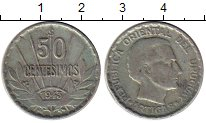 Изображение Монеты Южная Америка Уругвай 50 сентесим 1943 Серебро XF-
