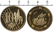 Изображение Монеты Великобритания Остров Джерси 10 евроцентов 2003 Латунь UNC