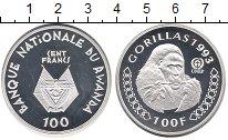 Изображение Монеты Руанда 100 франков 1993 Серебро Proof- Сохранение животного