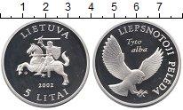 Изображение Монеты Литва 5 лит 2002 Серебро Proof-