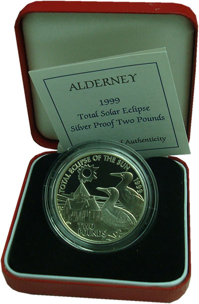 Изображение Подарочные монеты Великобритания Олдерни 2 фунта 1999 Серебро Proof